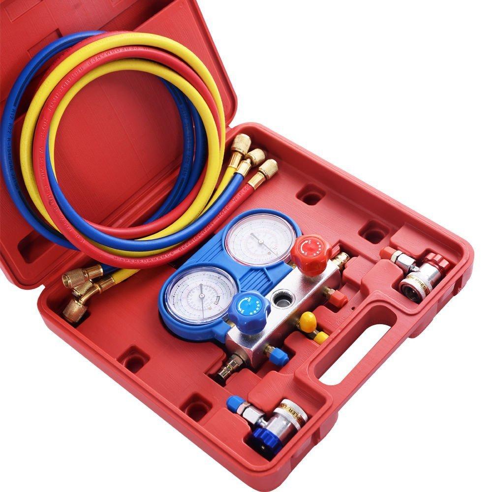 Goplus 4CFM 1/3HP Air Vacuum Pump HVAC Refrigeration Kit AC Manifold Gauge Set R134 (Gauge Kit)