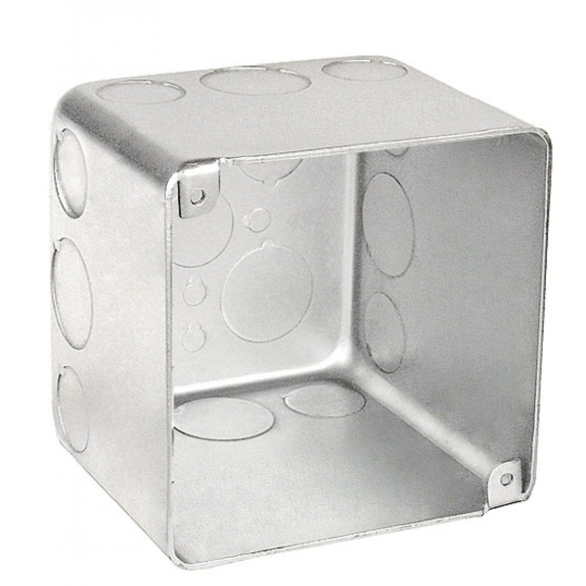 2 Pcs, 4 Square Chicago Plenum Air Tight Junction Box, 3 In. Deep, (8) 1/2 In. & (4) 3/4 In. Side Knockouts, 0.0625 Galvanized Steel For Dimmers, Cameras, Speakers, Strobes, Signals by Garvin (Image #1)