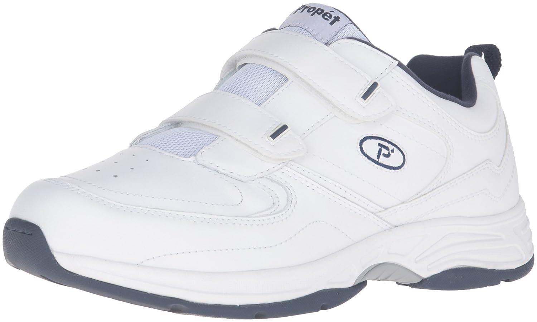 Propet Men's Warner Strap Walking Shoe 14 3E US|White/Navy