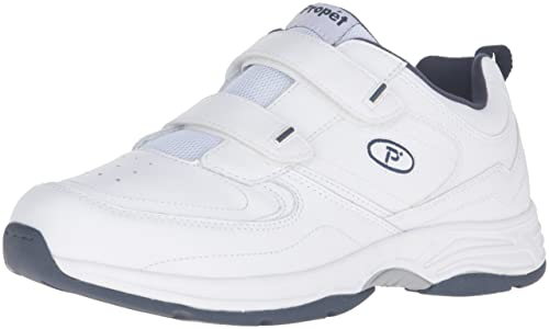 Propet Men's Warner Strap Walking Shoe, White/Navy, ...