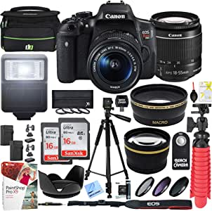 Canon EOS Rebel T6i DSLR Camera WiFi 18-55mm is STM & 55-250mm is II Lens Kit Bundle with Deco Gear Accessories (15 Items)