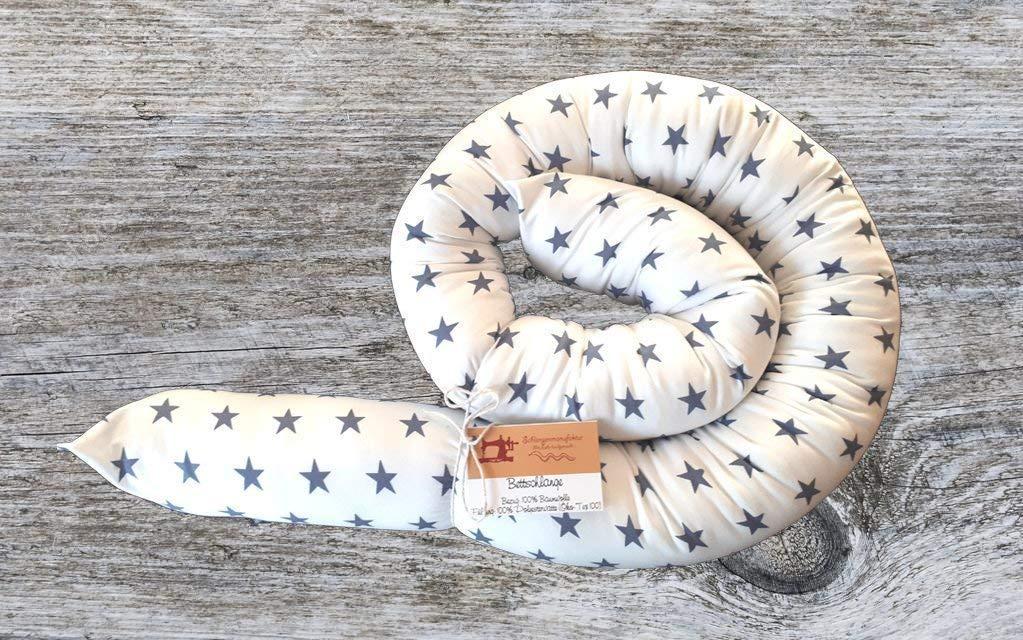 Bettschlange, Weiß mit Sternen, 180cm/210cm/250cm, Handmade, Baby Nestchen Weiß mit Sternen
