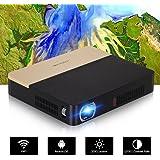 Mini projecteur 3D sans fil avec Bluetooth WiFi, Pico Smart DLP projecteur portable 2000 lumens Home Entertainment voyage d'affaires en plein air proyectors avec HDMI USB VGA/AV 3.5 mm audio out