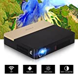 Portable Mini Pico Projector Pocket Home Cinema DLP 3D Bluetooth Projectors Smart HD 1080P Mobile Wireless Android Beamer Proyectors, Built-in Battery Speakers Wifi, HDMI USB VGA/AV 3.5mm Audio Out