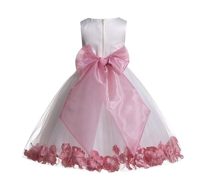 2a501ab28 ekidsbridal Ivory Floral Rose Petals Tulle Flower Girl Dress Toddler Junior  007 12