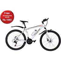 Mitras Propane Aluminum 26 Inches 21 Speed Shimano Gears Hardtail Men Mountain Bicycle- White