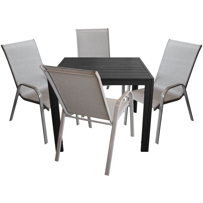 5tlg. Elegante Gartenganitur Gartentisch 90x90cm + Stapelstuhl Gartenstuhl stapelbar mit Textilenbespannung Gartenmöbel Balkonmöbel Sitzgruppe Sitzgarnitur