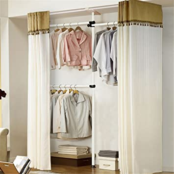 asunflower adjustable clothes racks curtain with curtain hanger ivory