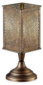 Trio Leuchten Lampe de table abat-jour Jana en métal laiton antique Bureau Kupfer antik
