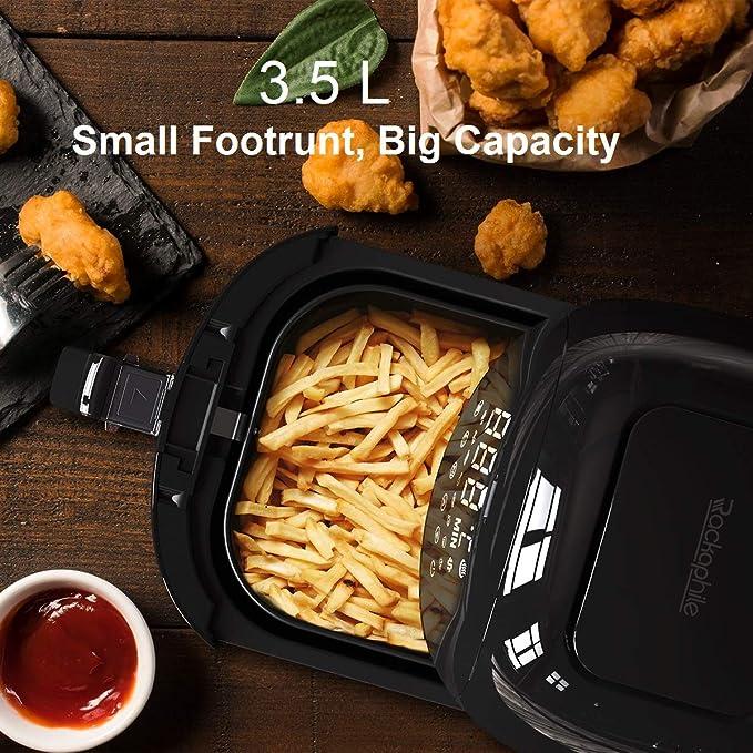 【3.5L】Rackaphile - Freidora Aire sin aceite Digital, Freír con Aire caliente, 8 Modos, Pantalla táctil LCD, Libre BPA - Negro