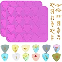 craftshou 14 Pieces Guitar Picks Molds for Resin,with Musical Note Pendent,DIY Silicone Mold Handmade Craft Musical…