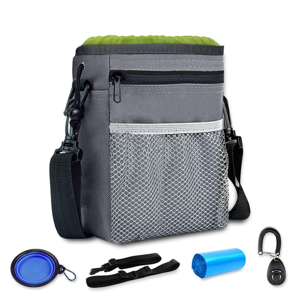 GUSTYLE Dog Treat Pouch Puppy Training kit with Adjustable Strap, One Training Clicker and One Collapsible Food Water Bowl & 2 Roll Poop Bags by GUSTYLE