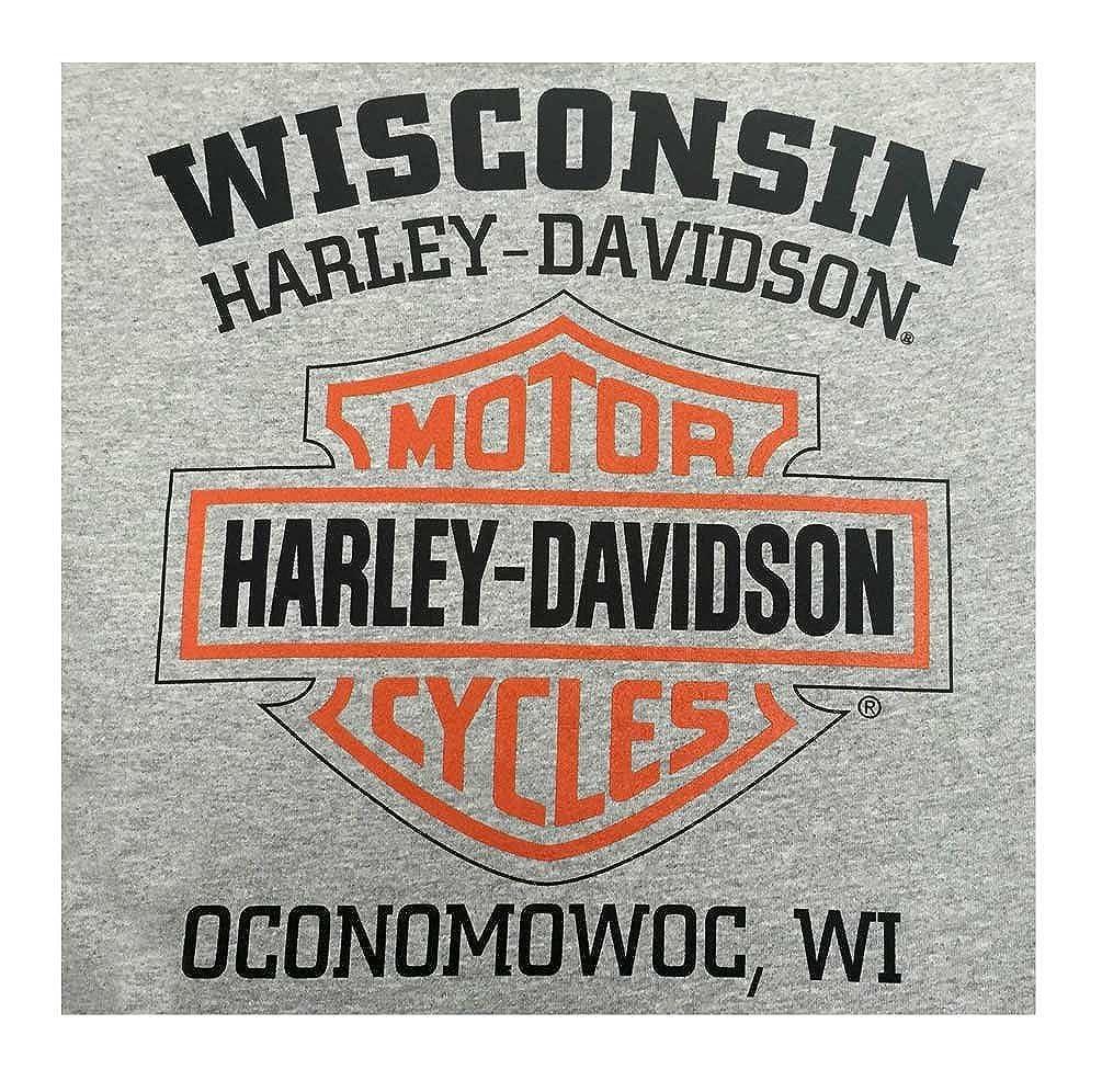 Harley-Davidson Mens Tee Distressed Bar /& Shield T-Shirt Gray 30296597