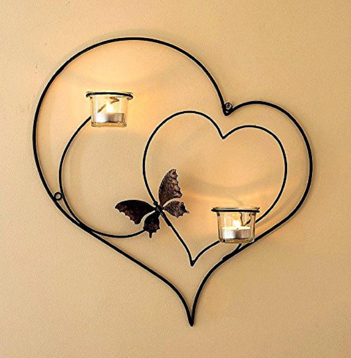 CraftVatika Iron Decorative Double Heart Wall Sconce Candle Holder Hanging Tealight Holders Home Arts Weddings Events Decor