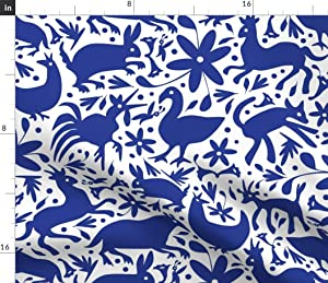 Spoonflower Fabric - Mexico Cobalt White Deer Cats Spring Happy Large Texas Springtime Printed on Linen Cotton Canvas Fabric by The Yard - Sewing Home Decor Table Linens Apparel Bags