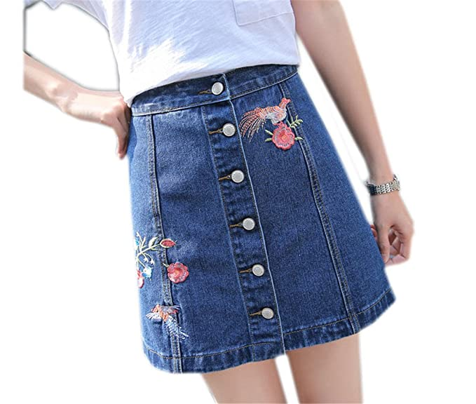 8ca3bd146f9 Luodemiss Women's Button Front Embroidered Denim A Line Short Skirt Jean  Short Cute Skirts L Bird