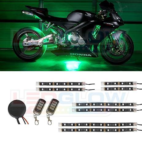 LEDGlow 8pc Advanced Green LED Flexible Motorcycle Lighting Strip Kit - 56 LEDs - Waterproof Control  sc 1 st  Amazon.com & Amazon.com: LEDGlow 8pc Advanced Green LED Flexible Motorcycle ...