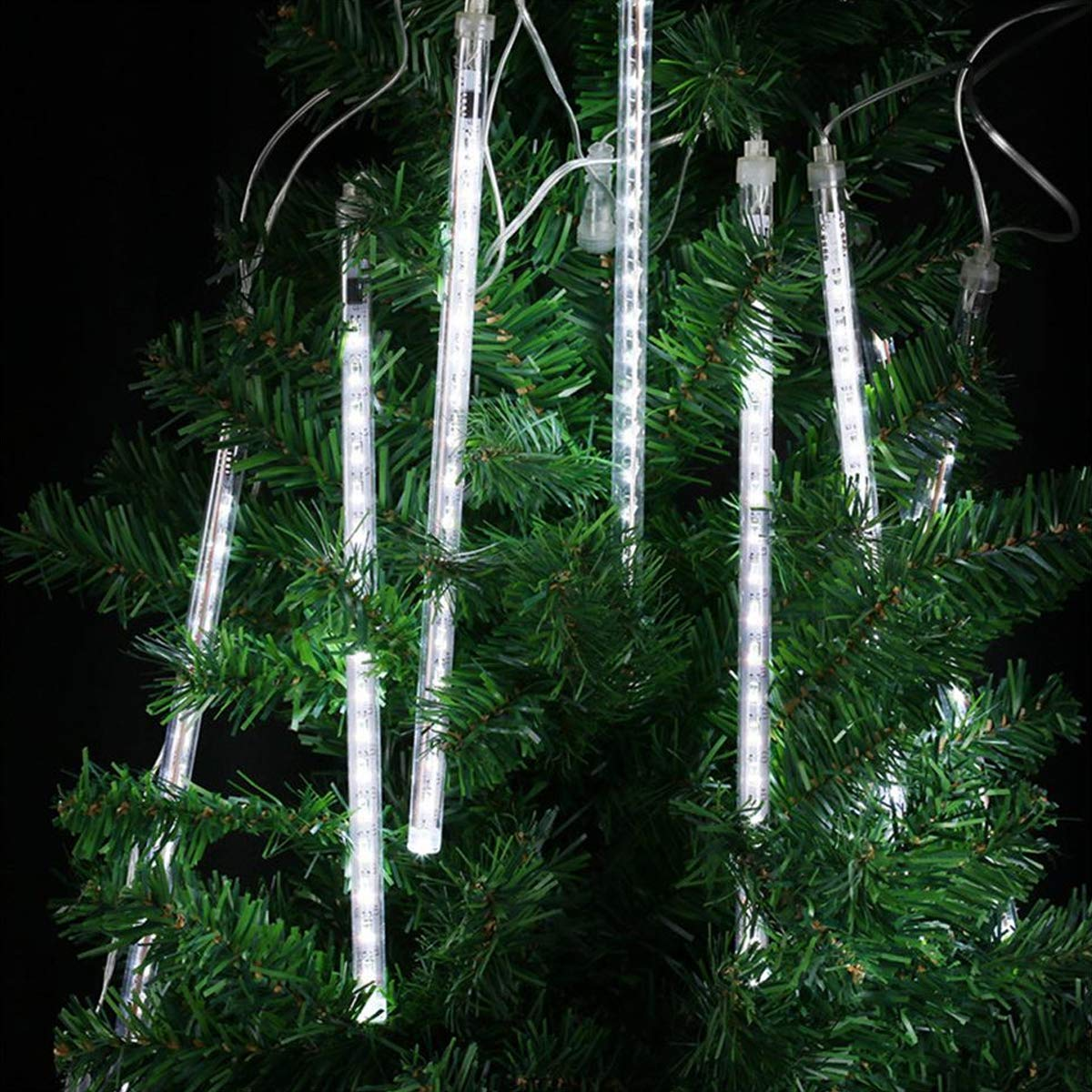 ABelle Bianco Meteor Doccia Pioggia Luci Impermeabili Della Corda Per Festa di Nozze Decorazione Dell\'Albero di Natale di Natale 30 Centimeter 8 tubo Luci Natalizie Per Esterni, 2 Pezzi