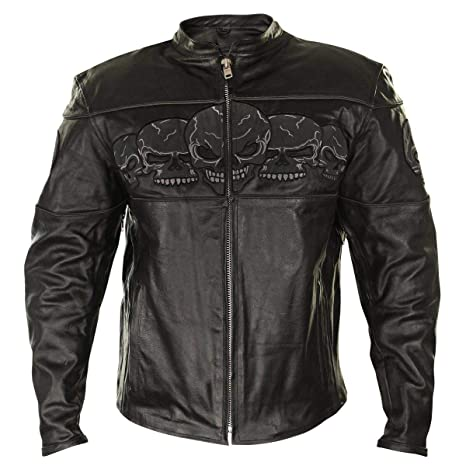 8a0ef8e1e Xelement BXU6050 Men's Black Armored Leather Motorcycle Jacket with Skull  Embroidery - 2X-Large