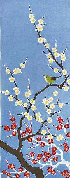 Le tenugui japonais blue color based cherry blossoms Japanese tenugui towel