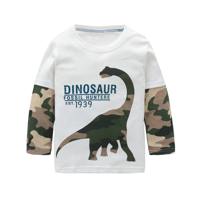 Big Boys Cotton Long Sleeve T-Shirts T Rex Dinosaur Shirt Graphic Tees White 8T