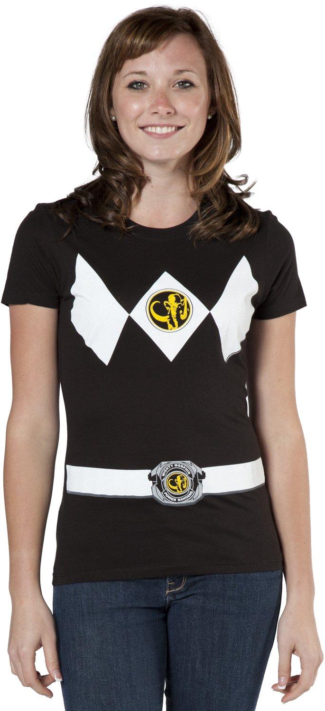 Mighty Fine Junior Black Ranger Costume Shirt - X-Large