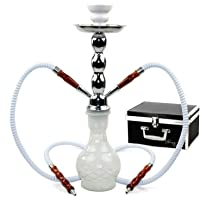 "GSTAR Deluxe Series: 18"" 2 Hose Hookah Complete Set w/ Travel Case - (Snow White)"