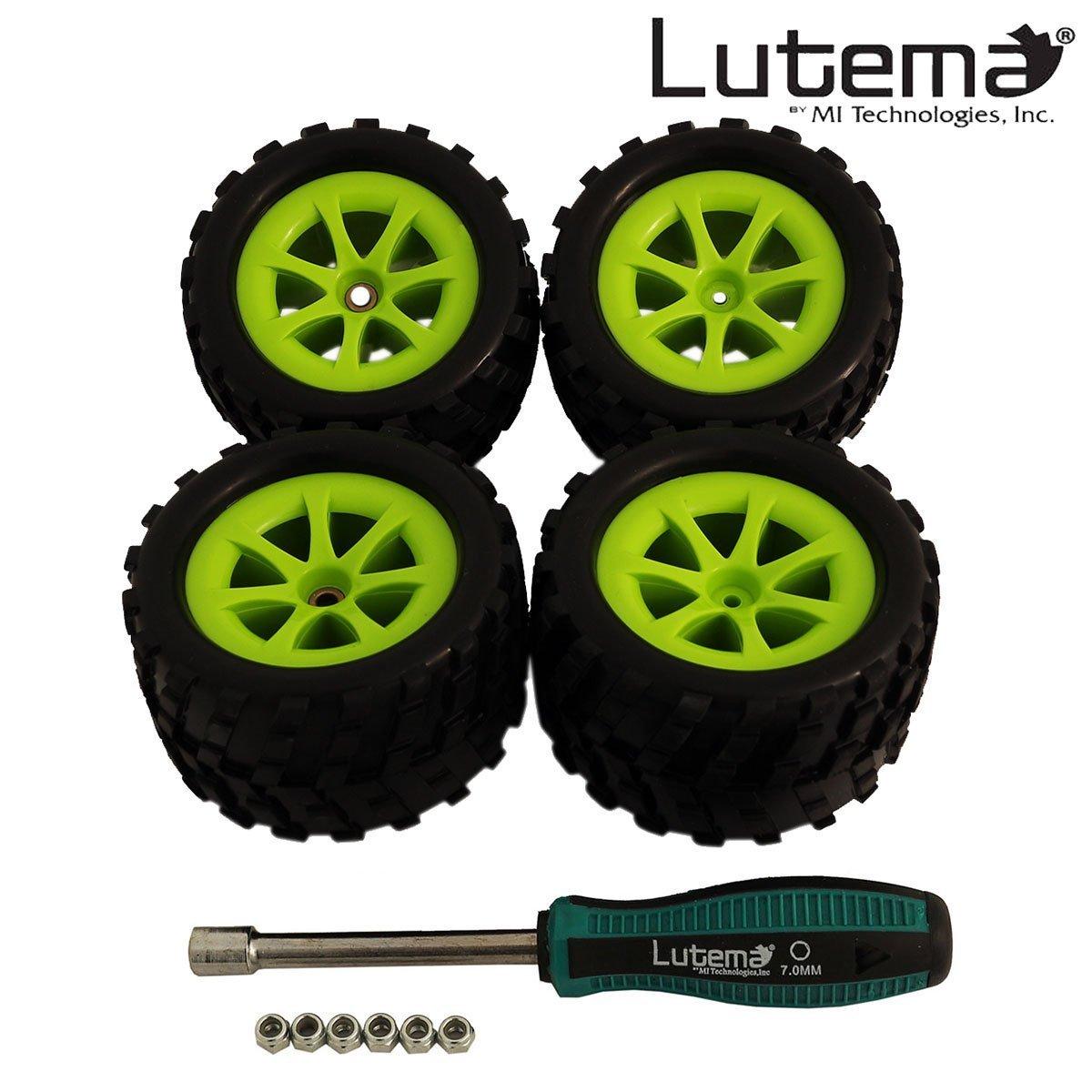 Lutema Hyp-R-Baja 2.4Ghz Big Bruiser Complete Set of Farbe Wheels With Tires - Grün
