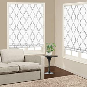 Roman Shades Window Blinds, White Premium Blackout Window Roman Shades, Custom Washable Fabric Geometric Roman Shades for Windows, Doors, French Doors, Kitchen Windows