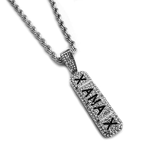 0a9b1b2908349 BLINGFACTORY Hip Hop Iced Lab Diamond Xanax Pendant & 4mm 24