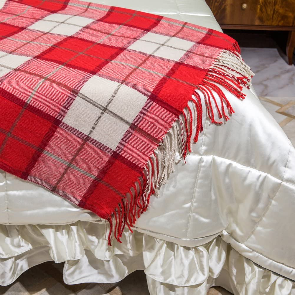G Lake Green Red Plaid Blanket Throw Acrylic Soft Reversible Dyed Fringed Bed Blanket for Christmas Indoor Decorations 50 W x 67 L Christmas Color