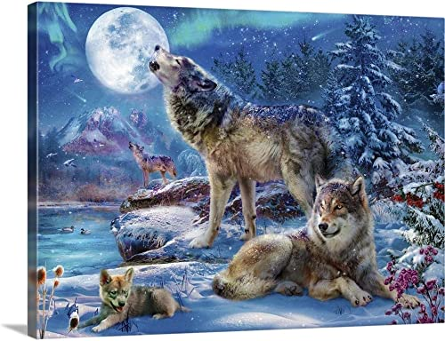 GREATBIGCANVAS Wolves Howling Canvas Wall Art Print