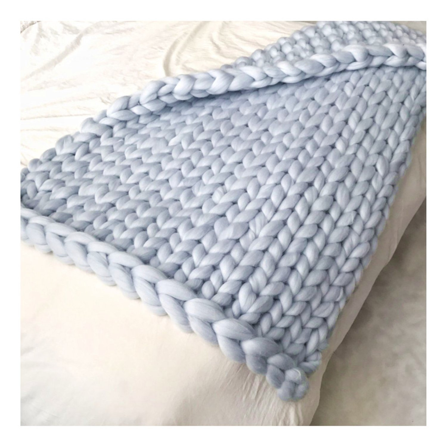 EASTSURE Knit Acrylic Blanket Hand-made Chunky Bed Sofa Throw Super Large,Grey,47''x71'' by EASTSURE (Image #5)