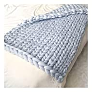 """EASTSURE Knit Acrylic Blanket Hand-made Chunky Bed Sofa Throw Super Large,Grey,40""""x59"""""""