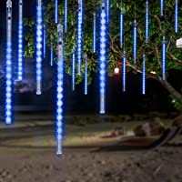 OMGAI Waterproof Meteor Shower Rain Lights - 30cm 8 Tubes Drop Icicle Snow Falling Raindrop Cascading Lights for Party…