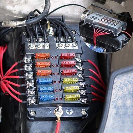 Horifen 12 Fach Sicherungskasten Kfz Sicherungshalter Mit Led Anzeige Auto