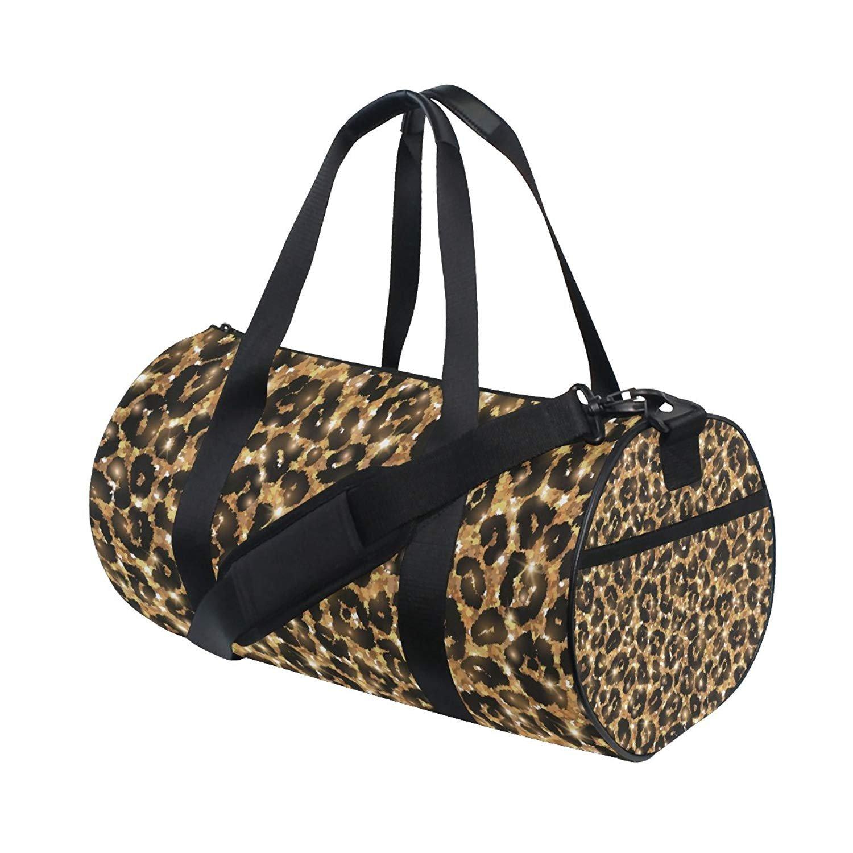 OuLian Gym Duffel Bag Gold Leopard Pattern Sports Lightweight Canvas Travel Luggage Bag by OuLian