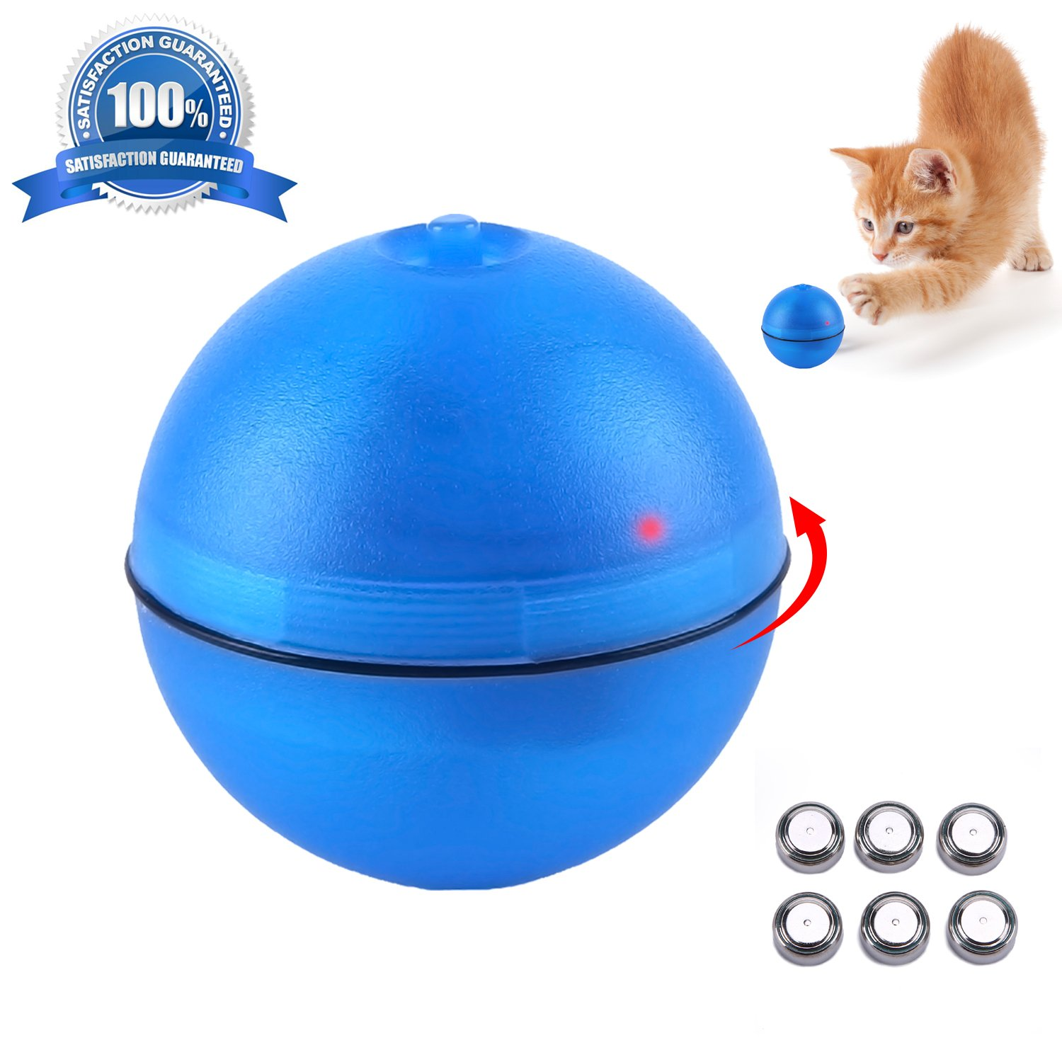 JUOIFIP Interactive Cat Toy 360 Degree Self Rotating Ball Automatic Light Training Tool Endless Fun for Cat/Kitty/Kitten/Puppy/Dogs