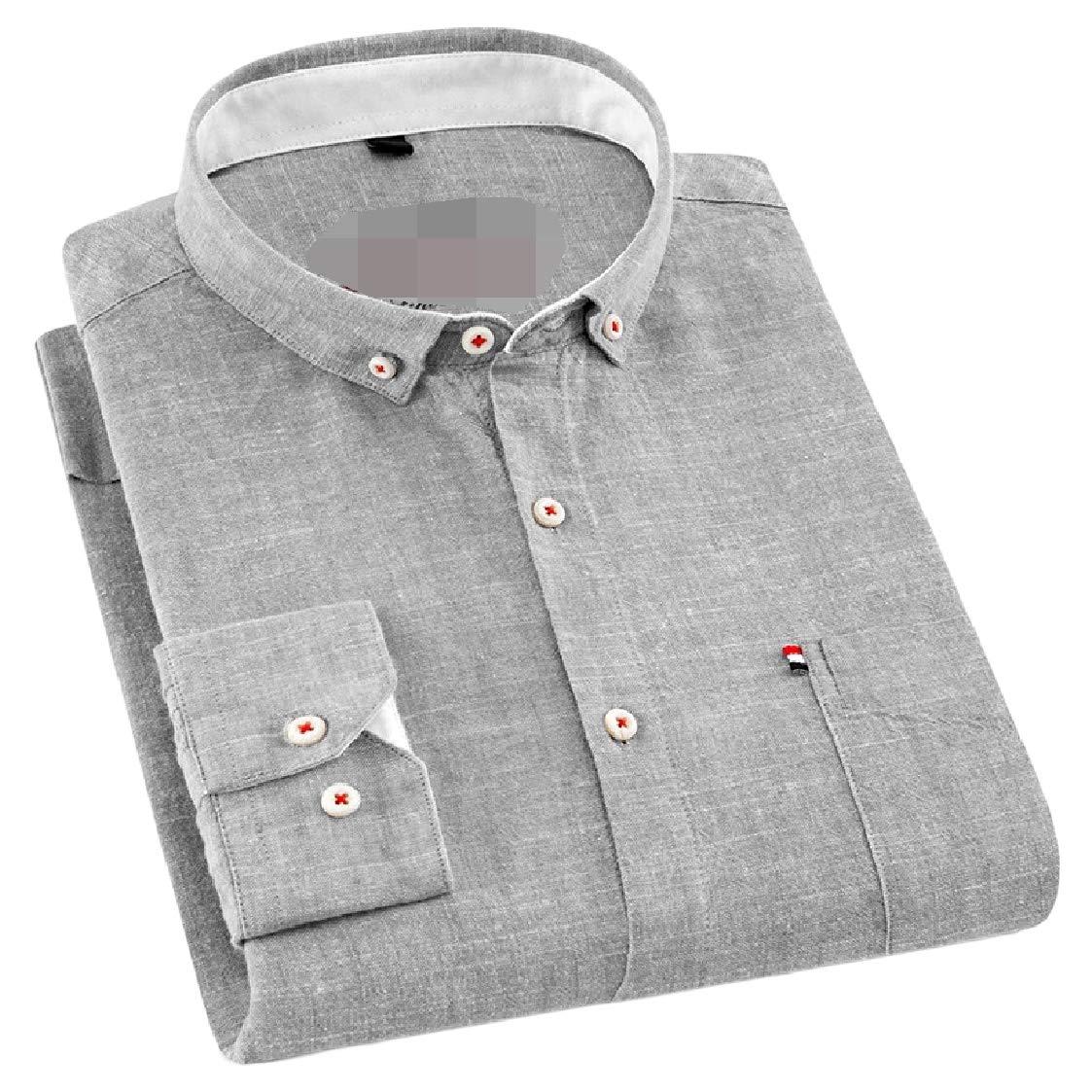 Pandapang Mens Wrinkle Free Linen Washed Casual Slim Long-Sleeve Shirt