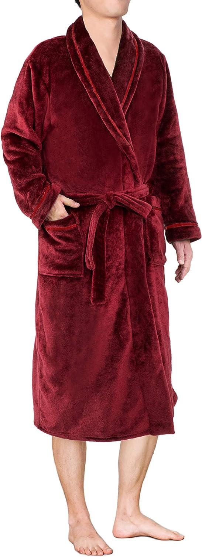 Mens Plush Fleece Robe | Soft, Warm, Spa Bathrobe for Men, Shawl Collar