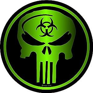 """ProSticker 1335 (One) 4"""" Zombie Series Sniper Biohazard Skull Decal Sticker"""