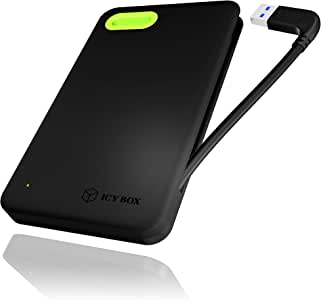 ICY BOX IB-277U3 Carcasa Externa para 5,08 cm (6,35 cm) SATA HDD/SSD con Integrado USB-Cable, 3.0 USB (UASP) y SATA III (Negro/Verde): Amazon.es: Informática