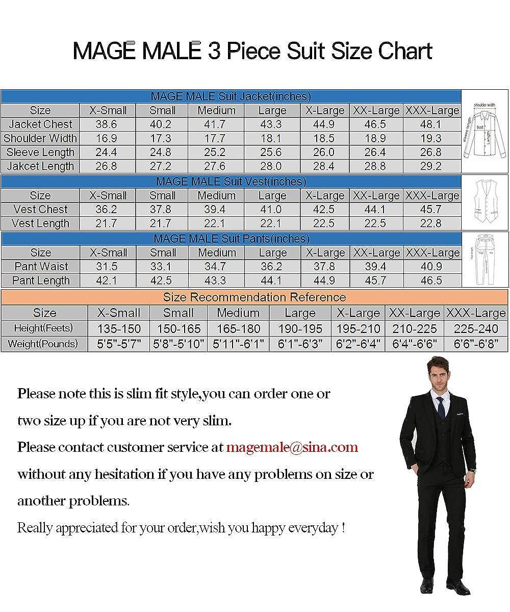 MAGE MALE Men's 3 Pieces Suit Elegant Solid One Button Slim Fit Single  Breasted Party Blazer Vest Pants Set
