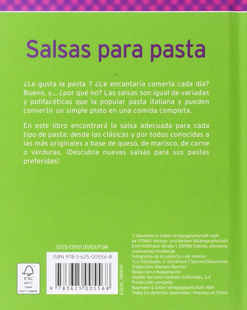 Salsas para pasta: Fáciles, deliciosas y típicamente italianas: VV.AA.: 9783625005568: Amazon.com: Books