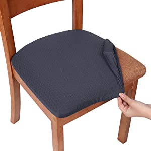 smiry Seat Covers for Dining Room Chairs Stretch Jacquard Dining Room Chair Seat Covers Set of 2, Dark Grey