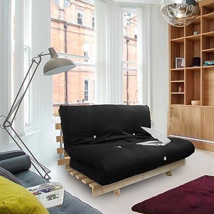 Colchón futón Shopisfy , cama doble con base de somier, 2 plazas, negro, Doble (135 x 190 cm)