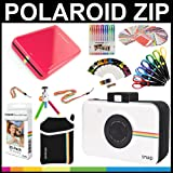 Polaroid ZIP Mobile Printer Gift Bundle + ZINK Paper (30 Sheets) + Snap Themed Scrapbook + Pouch + 6 Edged Scissors + 100 Sticker Border Frames + Color Gel Pens + Hanging Frames + Accessories