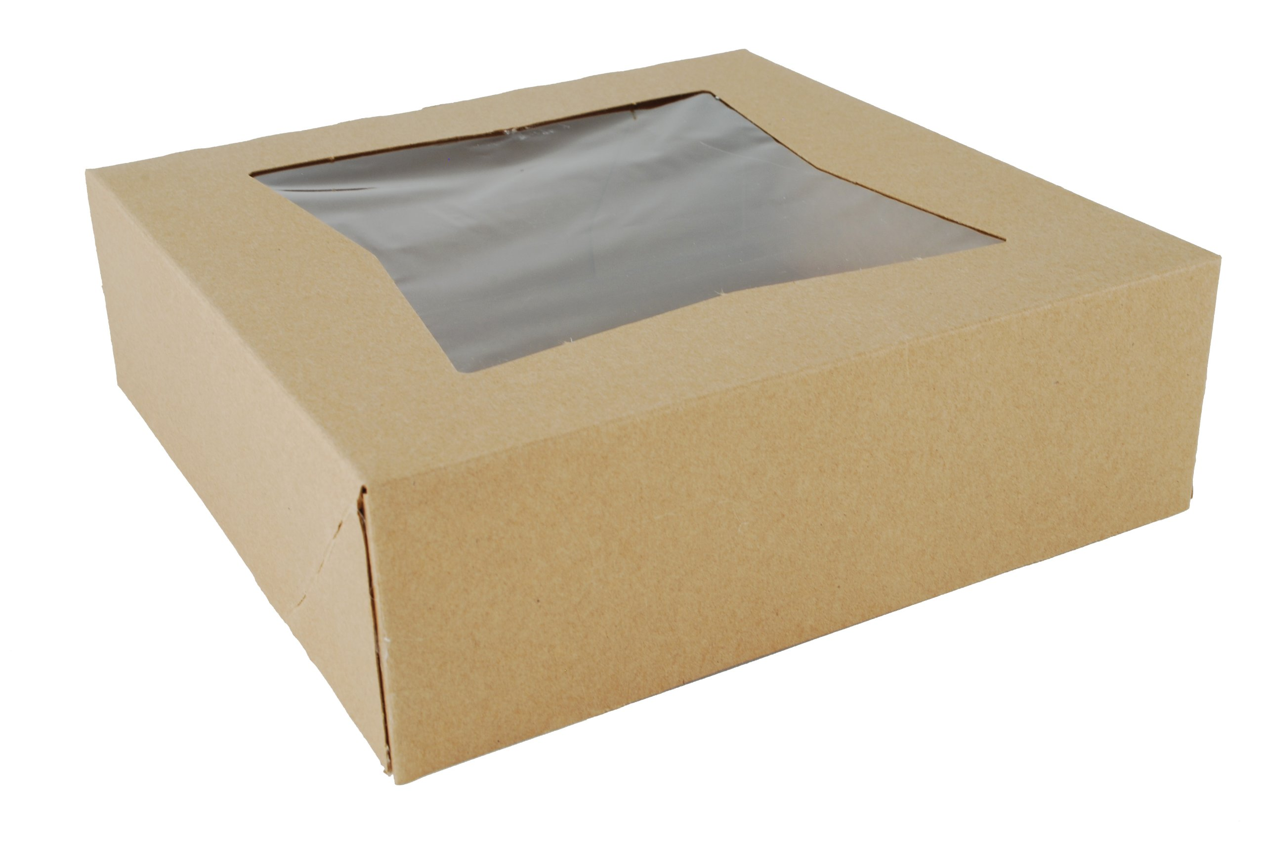 Southern Champion Tray 24013K Kraft Paperboard Window Bakery Box, 8'' Length x 8'' Width x 2-1/2'' Height (Case of 200)