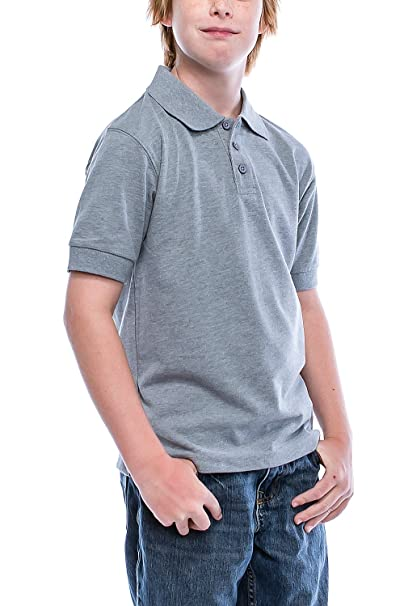 5738d948 Boys Big Boy's Short Sleeve 3 Button Plain Polo Shirts for Boys 1100 (4,