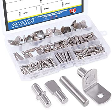Glarks 110-Pieces Nickel Plated Shelf Bracket Pegs Cabinet Furniture Shelf Pins Support 3 Styles Silver